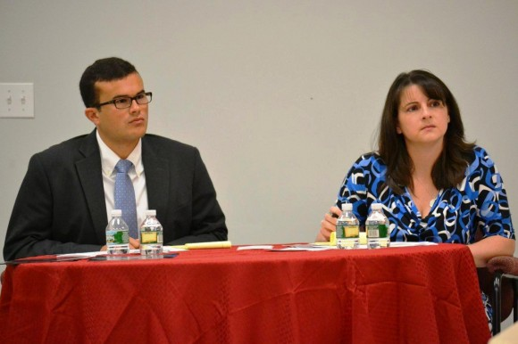 Sen. Art Linares and Rep. Christie Carpino listen to comments from local business leaders on how Connecticut can improve its business environment. The legislators on Sept. 6 hosted a roundtable discussion at Chester-based Roto Frank of America, Inc. to discuss the challenges faced by manufacturers in Connecticut.