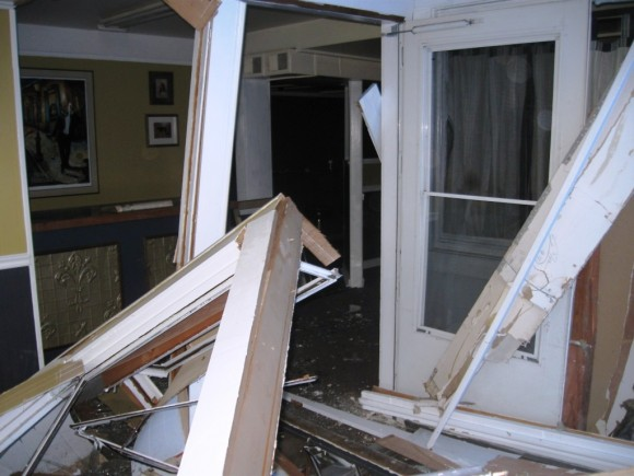 Crashed front door and windows (Photo courtesy of Jerome Wilson)
