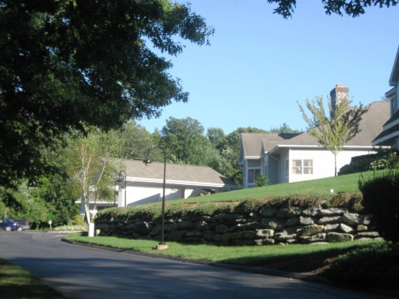 Entrance road into Chester Village West, a meticulously kept retirement community
