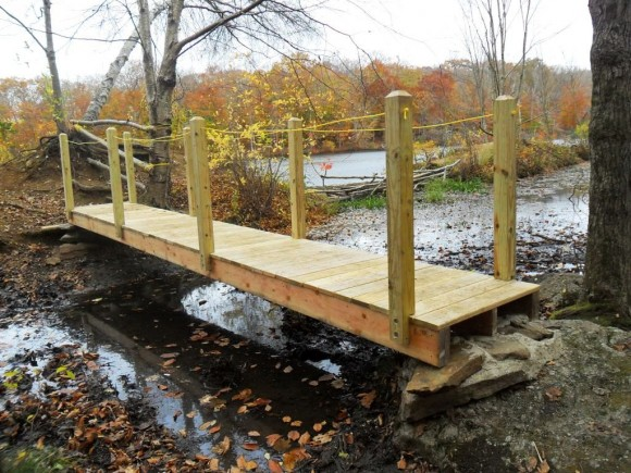 The new Red Trail bridge at the Bushy Hill Nature Camp