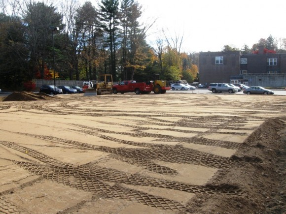 The cleared and packed site, awaiting the new tennis courts