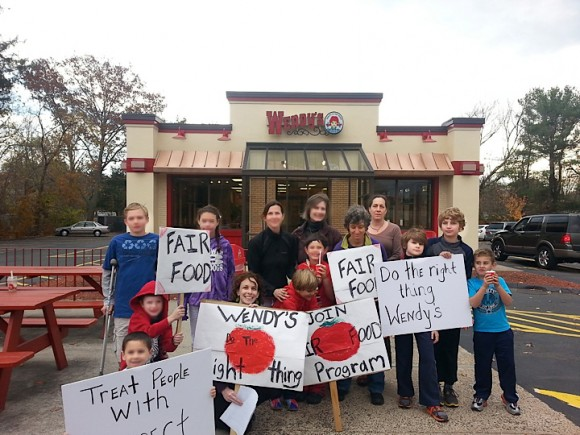 CBSRZ members taking action for Fair Food at Guilford Wendy's