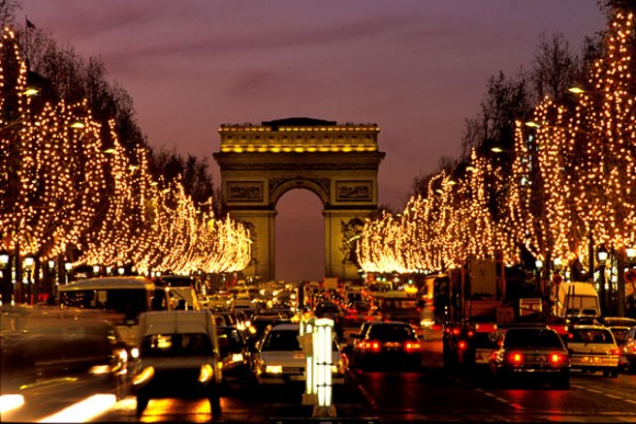 The Champs-Elysees in Paris with Christmas lights (file photo.)