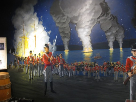 Artist rendering at the Museum of 1814 British attack on Essex