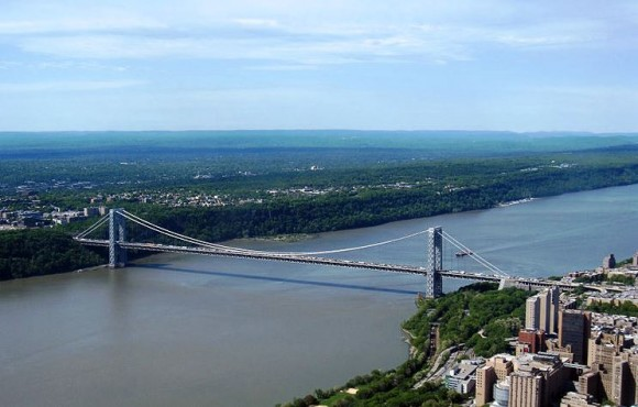 The George Washington bridge is the busiest vehicular traffic bridge in the world.