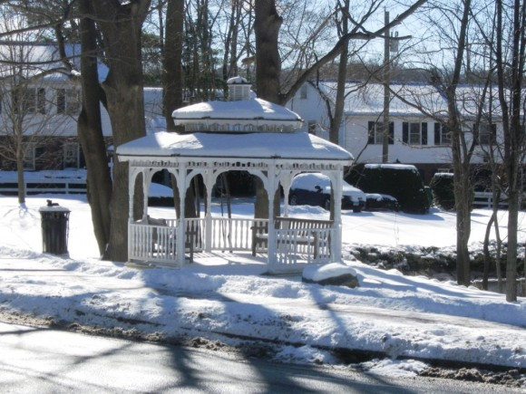 Deep River gazebo covered in snow