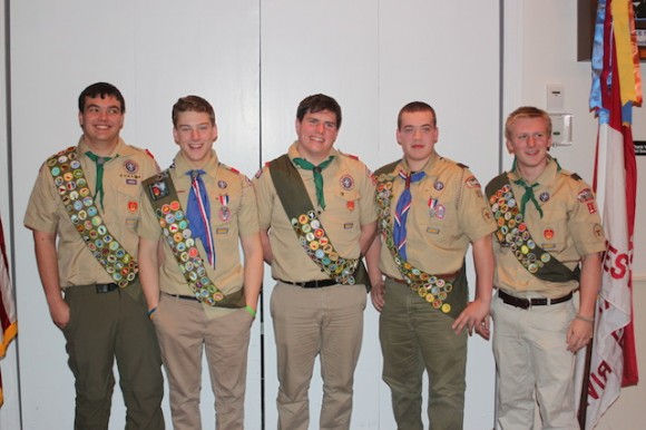 Chester/Deep River Boy Scouts Troop 13 Five newest Eagle Scouts (L-R) Samuel Jones,  Tyler Johnson, Iestyn Norton, Gregory Merola, and William Brown