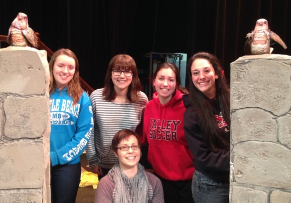 Valley Regional Musical Productions' newest cast member(s), Mr. Robin, arrives at rehearsal of THE SECRET GARDEN at Valley Regional High School.  (Back, left to right): VRMP cast members Megan Ryan, Shelby Talbot, Kristen Kilby and Annie Brown. (Front): Puppet artist Linda Wingerter