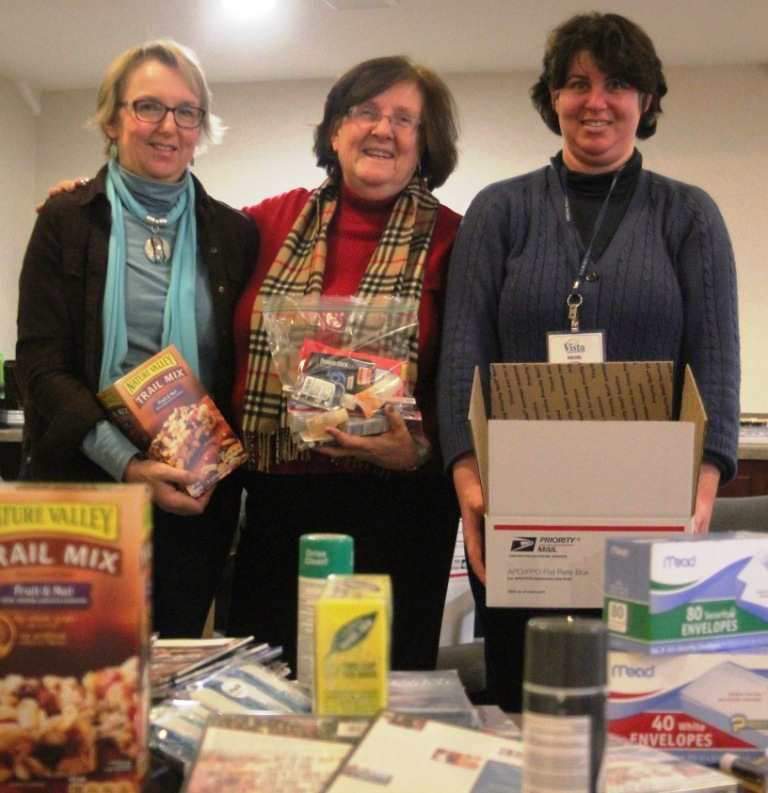 "Pictured above left to right: ""Boxes for Soldiers"" Chairperson Cindy Stevens, Vista Program Counselor Laurie Pilcher and Vista member Rachel Goodman"