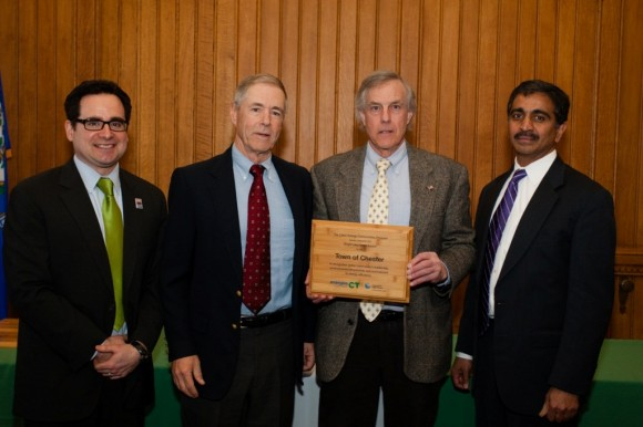 L-R: Commissioner Robert Klee, Department of Energy and Environmental Protection; Richard Holloway from the Chester Conservation Commission; Chester First Selectman Edward Meehan and Tilak Subrahmanian, Vice President of Energy Efficiency at Northeast Utilities.
