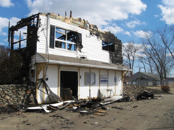 Remains of burned out Pattaconk Yacht Club House after fire (Photo courtesy of Jerome Wilson).