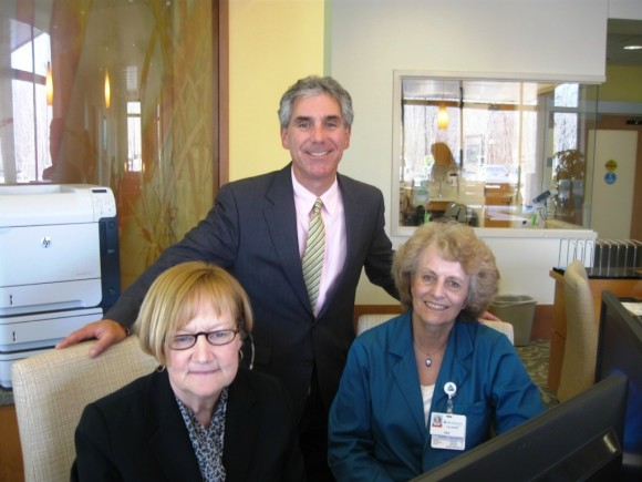 Opening day -  (left to right) Pat Cozza, volunteer; Vincent Capece, President & CEO, Middlesex Hospital; and Beth Saity, Telecommunications.