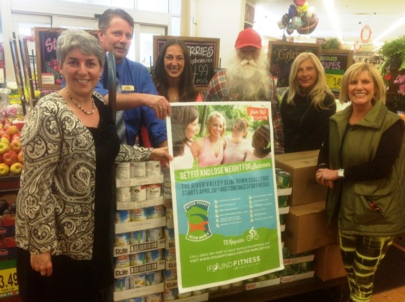"Left to right: Claire Bellerjeau of SSKP, Donna Scott, Owner of IFoundFitness, Jeff Prindle, Store Manager of the Deep River Adams Super Food Store, and the top three winners of the challenge: first place, Sarina Garofalo, second place, ""Santa"" Dave Puffer, and third place, Deb Garofalo, pictured with the food donation."