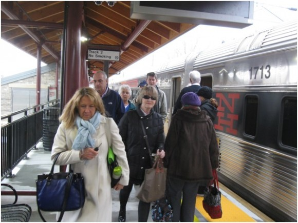 Passengers arriving at Westbrook station