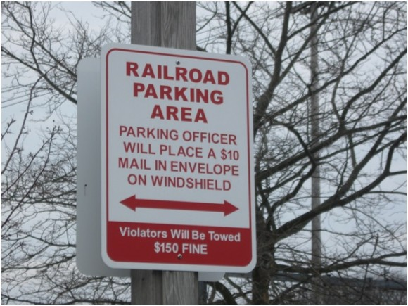 Parking sign at Old Saybrook train station
