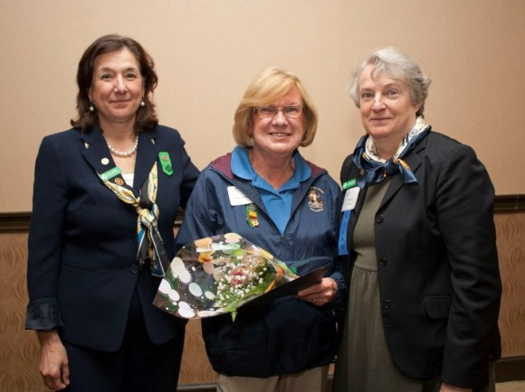 Left to right: GSOFCT CEO Mary Barneby, Maureen, and GSOFCT Board President Caroline Sloat. (Photo courtesy of Girl Scouts of Connecticut.)