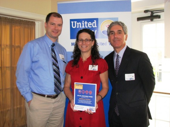Jason Bohn, Paulette Swanson and Vin Capece accept an award for Middlesex Hospital at the Middlesex United Way Campaign Awards Breakfast. Capece served as chair of the 2013-14 Middlesex United Way Campaign for Middlesex County.
