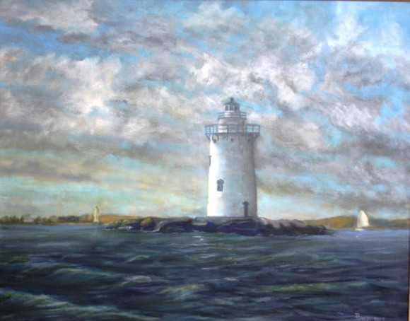 Outer Fenwick Light; oil, Artist Daniel Dahlstrom