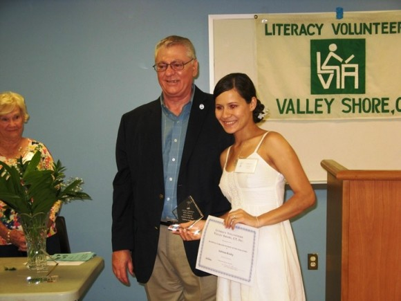 LVVS Director John Ferrara presents the Vi Brache Student of the Year Award to Westbrook's Sabrina Kosky at the organization's 2014 Annual Meeting on June 18th.  (Photo courtesy of Joanne Argersinger)