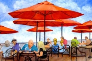 Orange Umbrellas by Betty Taylor of Essex