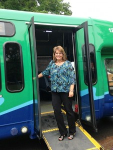 Durham First Selectman Laura Francis boards a 9 Town Transit bus at Durham Town Hall (photo by Amanda Pederson)