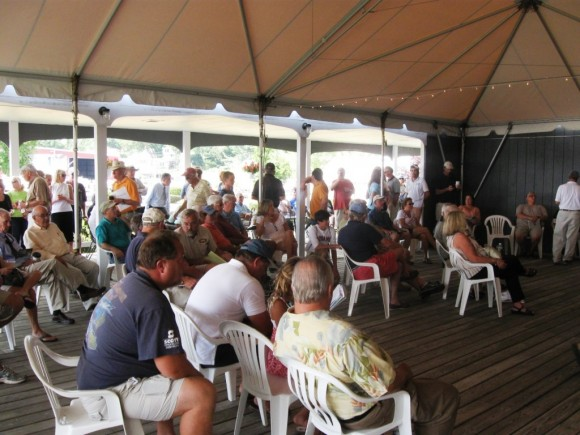 "The crowd that attended the JJManning's ""Absolute Auction"" of the Essex Island Marina"