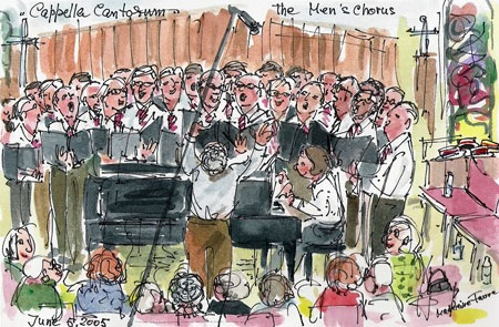 Cappella Cantorum Men's Chorus drawing inspired in St. Paul Lutheran  Church in a 2005 concert, drawn by Madeleine Favre of Deep River.