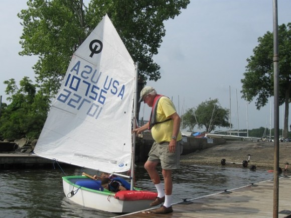 Pettipaug Sailing Director Paul Risseeuw provides assistance when necessary