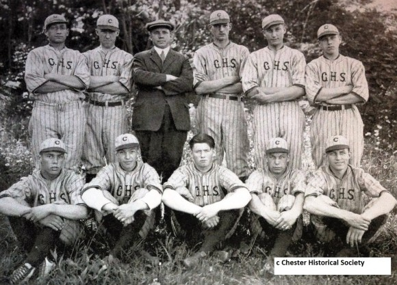 The Chester High School team of 1927. Front row: Leonard Goodspeed, Vernon Wilcox, Victor Peterson, Emmet DeVoe, William Collomore; back, Mike Zanardi, Reginald Deuse, Dr. Leon Cash, Lance Parker, Til Lavezzoli, Harold Jones.  Photo courtesy of Chester Historical Society