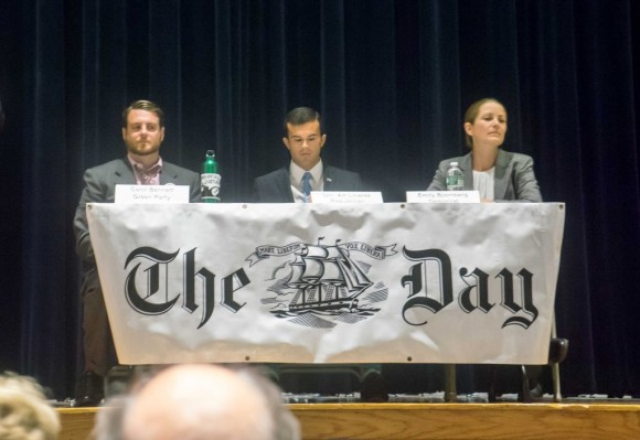Colin Bennett (Green Party), Republican Senator Art Linares and Democratic challenger Emily Bjornberg in first campaign debate
