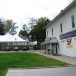 "Tent in which the ""Fall Ball"" will be held (left) and Connecticut River Museum (left)"
