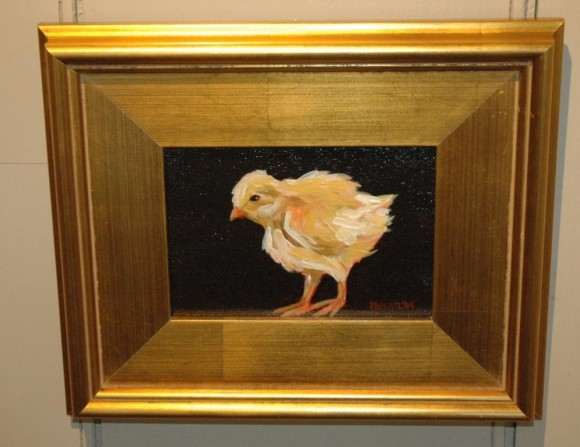 Pam Carlson, a painter from Essex, has donated this painting from her series of baby chicks to a gift drawing at Maple and Main Gallery in Chester, for Come Home to Chester