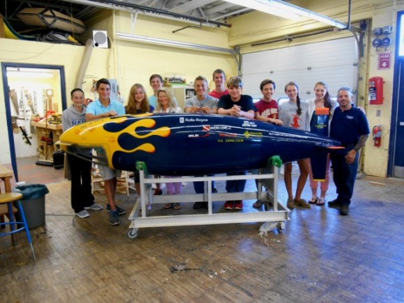 Students from Old Saybrook High School and teachers Fred Frese and Gretchen Bushnell with their human powered submarine, Jesse III. The students and the sub will be part of the Connecticut River Museum's upcoming program Human Powered Submarines: The Turtle to Jesse III.