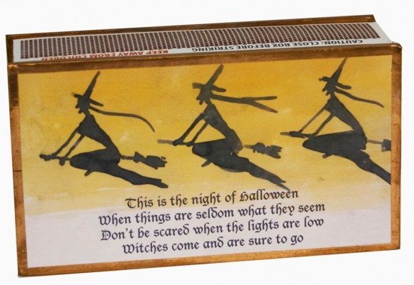 Chester Merchants are getting ready to celebrate Halloween in Chester Center on Oct. 31. The Three Witch Matchbox from The Joy of Lighting at 5 West Main Street is just what you need to light your jack-o'lantern. Photo by Susan Schneider