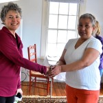 (l-r): Simply Sharing President and Founder Alison Brinkmann shares a special moment with a client from Gilead Community services after helping her move into her new home.