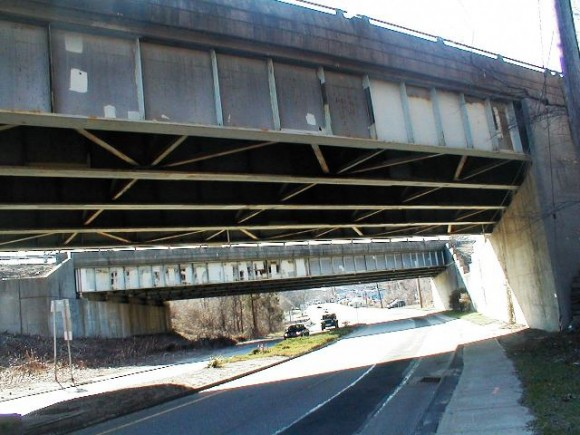 "Cause for concern:  the bridge carrying Rte. 9 at exit 3 is Essex's ""Front Door"""