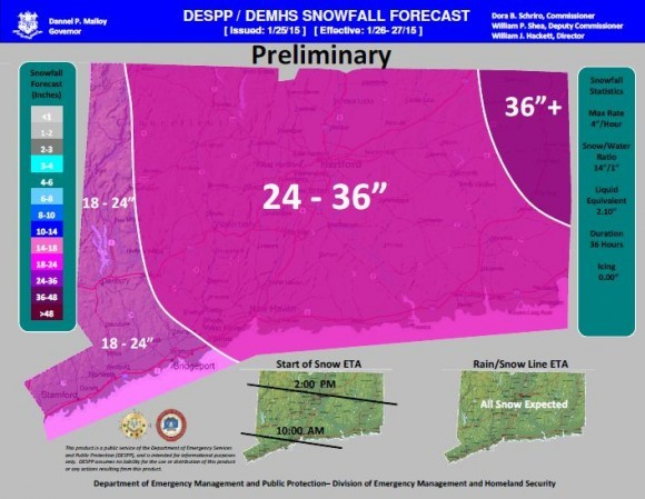 Snowfall forecast for the state of Connecticut.
