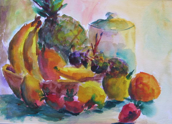 """""""Kitchen Fruit' by Lesley Braren is one of the featured paintings in the February exhibition of the artist's work at Essex Library."""
