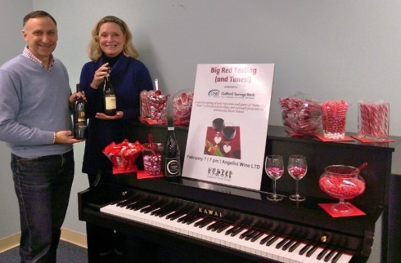 Julius Angelini of Angelini Wine LTD and Lisa LeMonte of Guilford Savings Bank look forward to welcoming guests to the Big Red Tasting (and Tunes!) on Feb. 7.