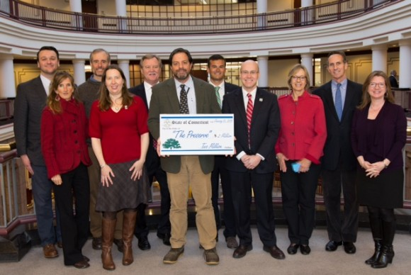 From left to right, Rep. Jesse MacLachlan, Essex resident Suellen McCuin, Chris Cryder of Save the Sound, Kate Brown of The Trust for Public Land, Sen. Paul Formica, Rep. Phil Miller, Sen. Art Linares, Rep. Devin Carney,  Rep. Terrie Wood, Jim Millard of The Trust for Public Land and Lori Fernand of The Trust for Public Land.