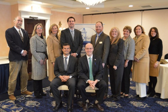 Gathering for a photo are, from left to right, Angus McDonald of Angus McDonald/Gary Sharpe & Associates; Leigh-Bette Maynard of Liberty Bank;  Kristen Roberts of Comcast; Leland McKenna of Middlesex Hospital Primary Care; Kenneth Gribbon of Saybrook Point Inn & Spa; Lori Woll of the Octagon @ Mystic Marriott;  Judy Sullivan - Old Saybrook Chamber of Commerce Executive Director; Linda Brophy of Edward Jones and Suzie Beckman Executive Director of the Old Saybrook Economic Development Commission.