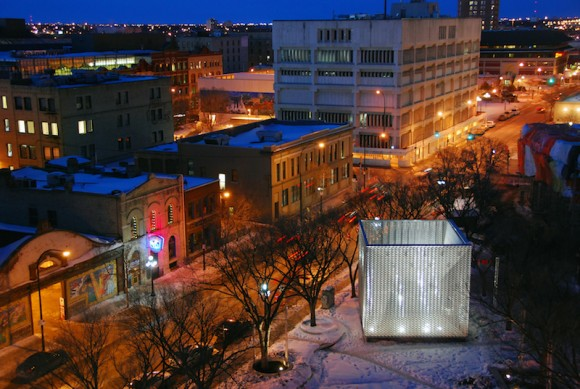 """""""The Cube"""" open air performance venue in the center of Winnipeg, Canada."""