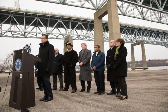 Representative Aundre` Bumgardner, Senator Paul Formica, State Representative Devin Carney next to Governor Malloy at the Gold Star Bridge in New London for a transportation press conference.