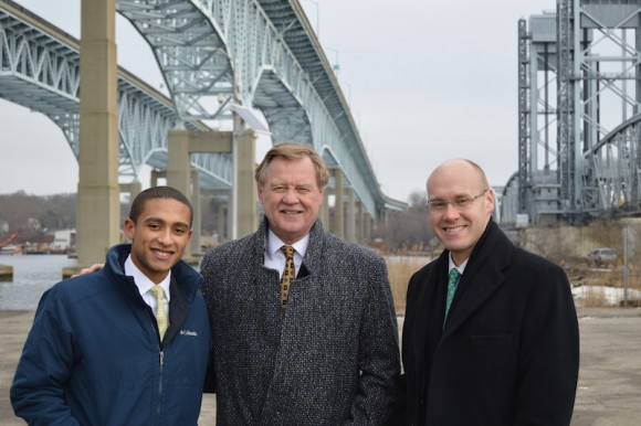 From left to right,  State Representative Aundre` Bumgardner, State Senator Paul Formica and State Representative Devin Carney stand next to the Gold Star Bridge in New London for a transportation press conference with CTDOT.