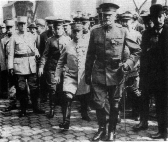 "Major General Pershing lands at Bordeaux in June 1917.  Photo from ""Yanks"" by John S.D. Eisenhower and published by The Free Press, New York."