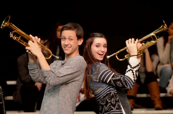 "Valley Regional Musical Production cast members Nathan Russo and Miranda Holland ""tune up"" for their roles as Spitz and Natalia, Cuyahoga High Marching Band Marching Beavers in the upcoming production of Band Geeks! ."