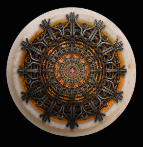 """Hooked on Mandalas"" by Bill Vollers is a framed, signed, archival digital image."