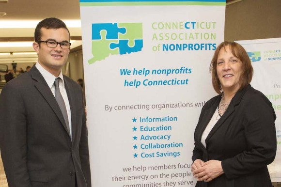 Senator Art Linares (R-33rd) meets with Senior Public Policy Specialist of the CT Association of Nonprofits Julia Wilcox (right).