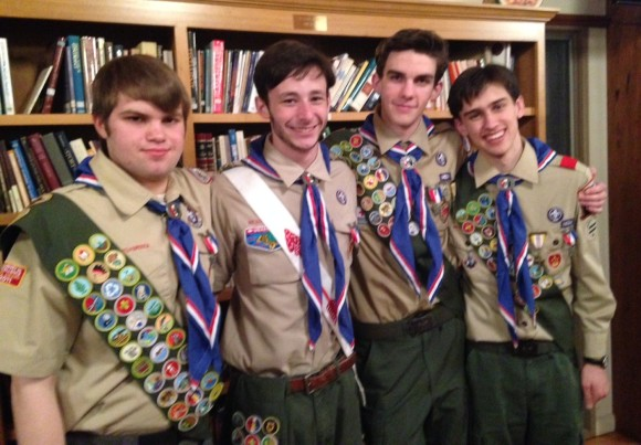 Celebrating their accession to the rank of Eagle Scout are (from left to right) Reggie Walden, Eric Mitchell, Will Burton, and Robert O'Shaughnessy.