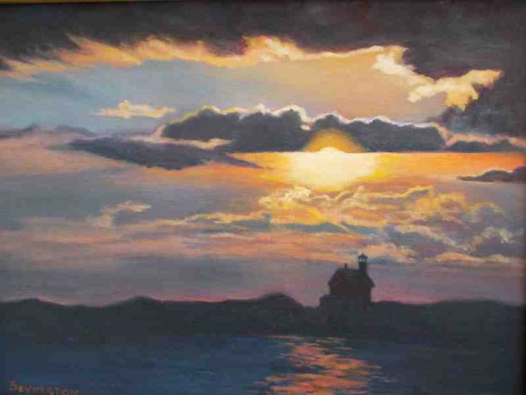 Sunset North Light is another of Phyllis Bevington's works on display in the Marshview Gallery during April.